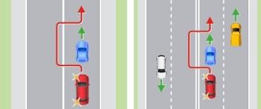 Выезд на полосу встречного движения через сплошную (или двойную сплошную) линию разметки