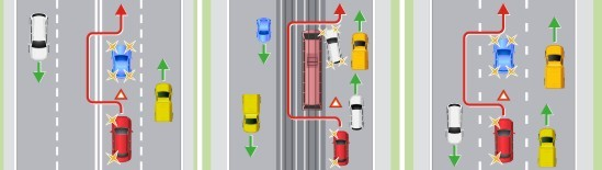 Объезд препятствия по встречной полосе или выезд на трамвайные пути встречного направления при объезде препятствия