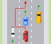 Выезд на крайнюю левую полосу на трехполосной дороге с двусторонним движением