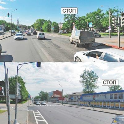 Проезд т-перекрестка со светофорами в разрыве полосы