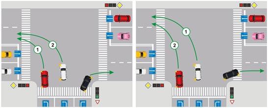Обоюдный поворот налево одновременно с двух полос, пути пересекаются