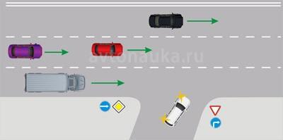 Въезд на правом повороте